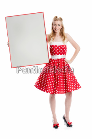 woman present poster promotion advertising space