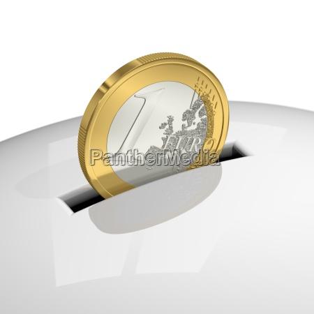 a euro into white piggy bank