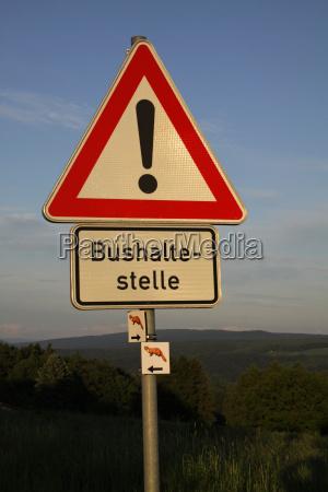 caution bus stop