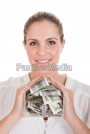 young woman holding a box of