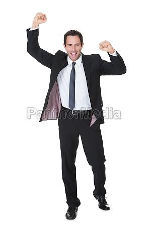 excited businessman celebration success