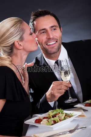 romantic couple at the restaurant