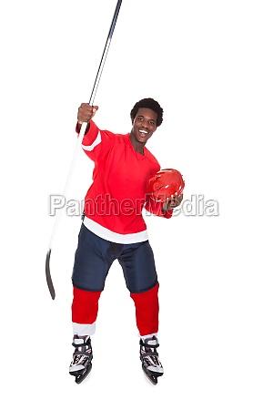 ice hockey player enjoying his success