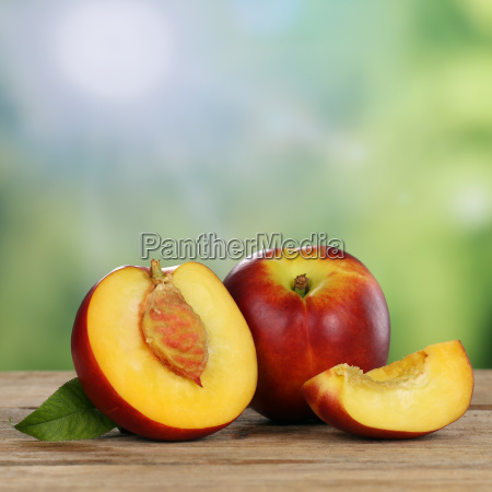 nectarines summer fruits with copy space