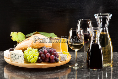 gourmet food cheese platter with bread