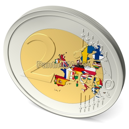 two euro coin colorful with flags