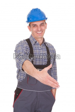 portrait of a male worker extended