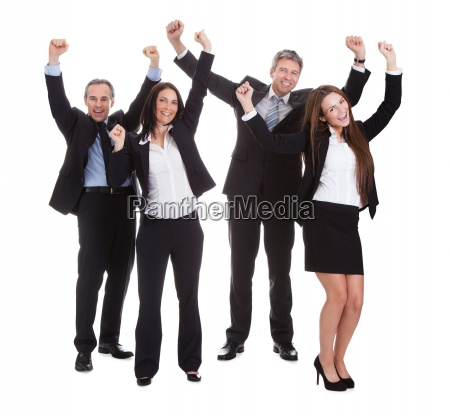 happy businesspeople jumping in joy