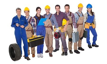 portrait of happy industrial workers