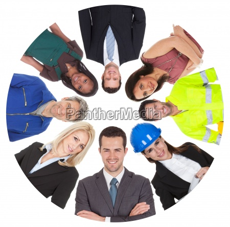 low angle view of diverse professional