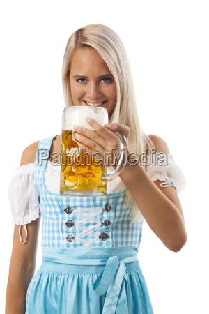 frau bier gerstensaft oktoberfest bayrisch bayerisch