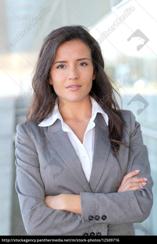 portrait, of, beautiful, businesswoman, standing, outside - 12509716