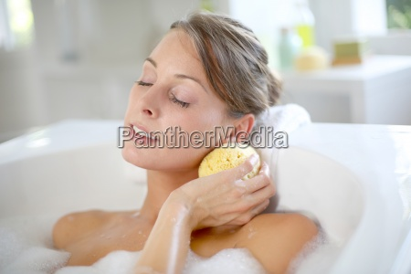 beautiful, woman, relaxing, in, baththub - 12510480