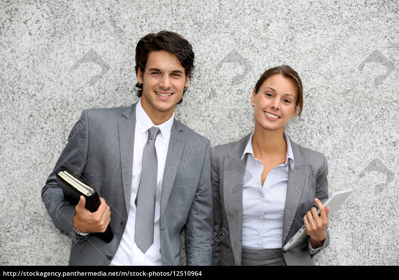 cheerful, business, people, standing, on, grey - 12510964