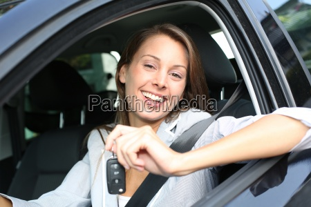 cheerful, girl, holding, car, keys, from - 12510444