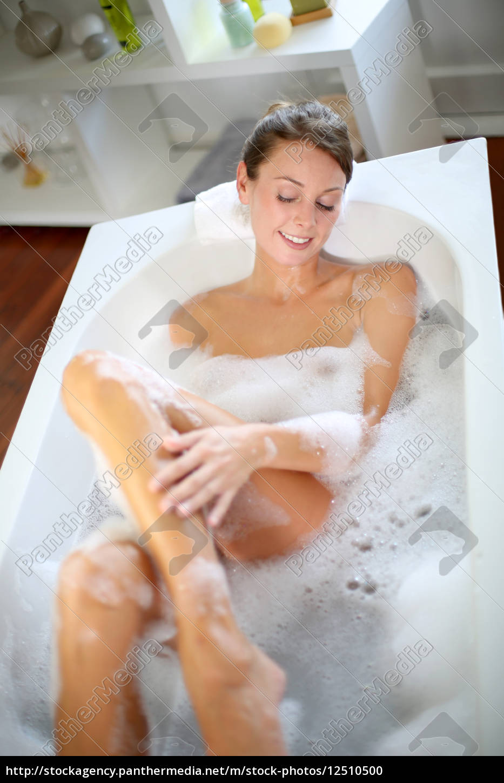 upper, view, of, woman, in, bathtub - 12510500