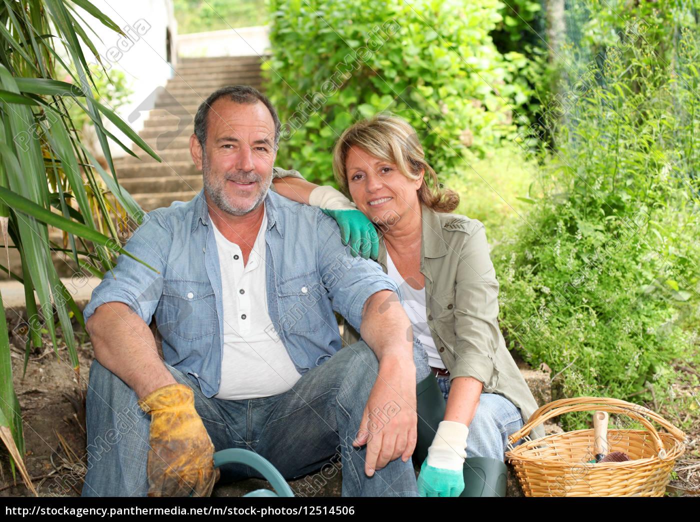 happy, senior, couple, gardening, together - 12514506