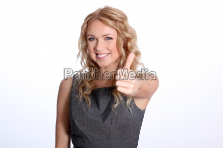 portrait, of, businesswoman, showing, thumb, up - 12519556