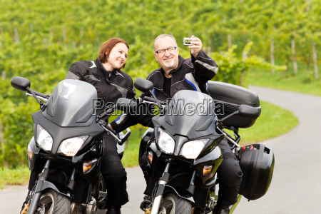 two motorcyclists in a selfie