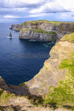 famous, cliffs, of, moher, with, tower. - 12525598