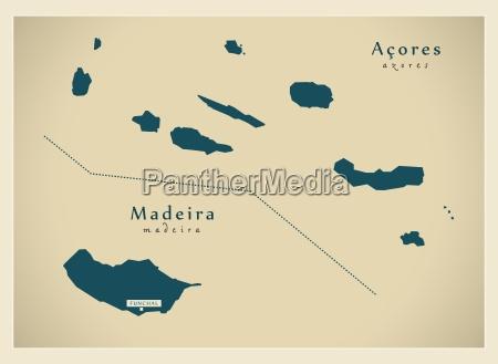 modern map acores madeira