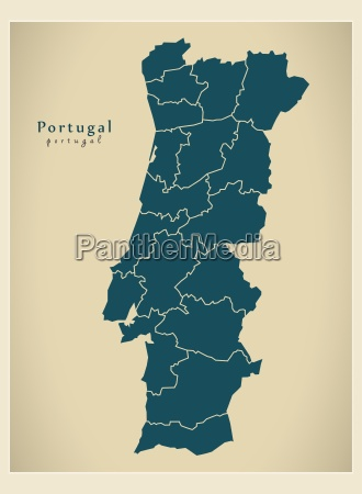modern map portugal districts pt