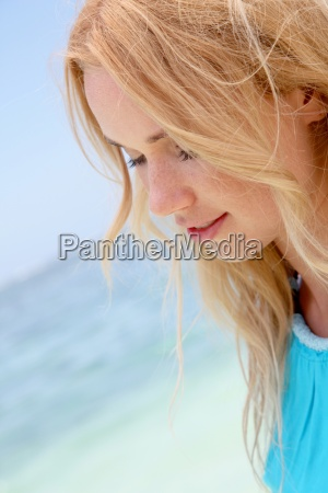 blond woman with beautiful smile