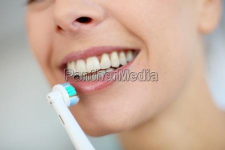 closeup on womans teeth