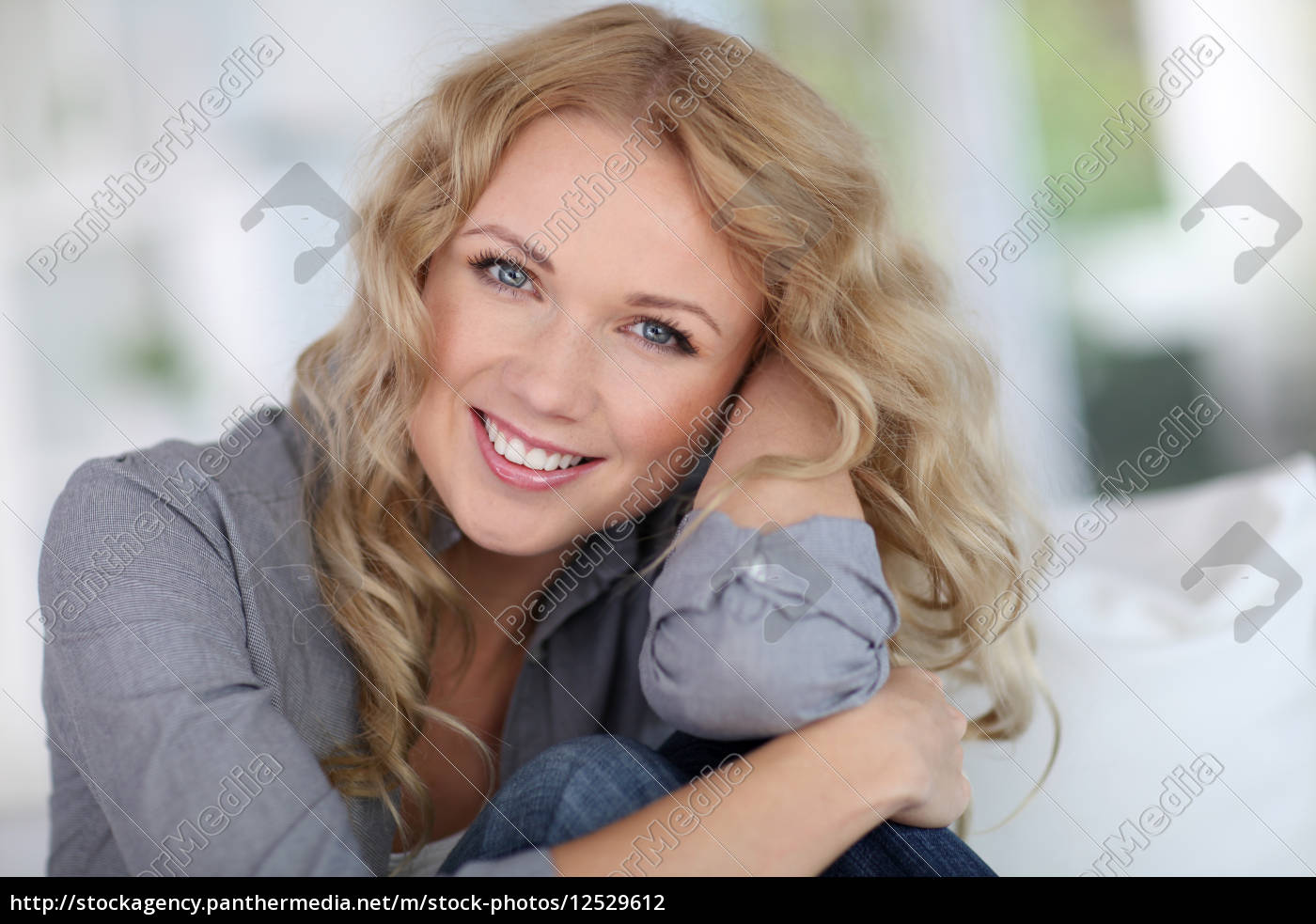 portrait, of, beautiful, blond, woman, relaxing - 12529612