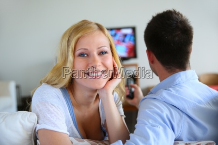 smiling, blond, girl, watching, tv, with - 12530632