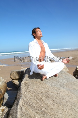 man, doing, meditation, exercises, on, the - 12532152