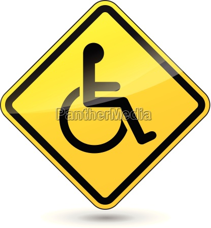 vector yellow disabled sign
