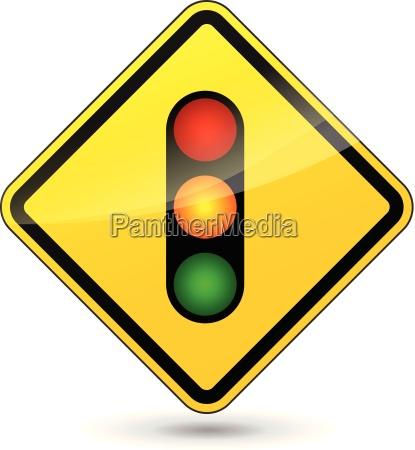 vector traffic lights yellow sign