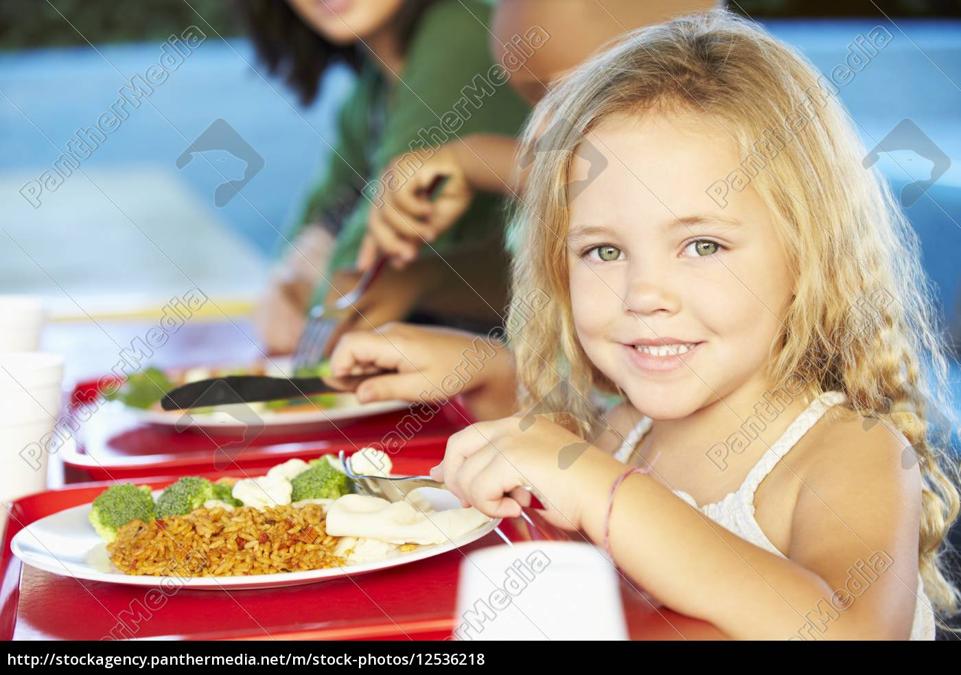 elementary, pupils, enjoying, healthy, lunch, in - 12536218