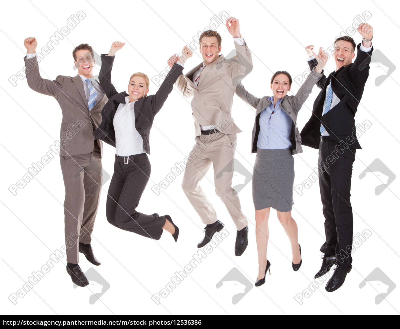 excited, business, people, jumping, over, white - 12536386