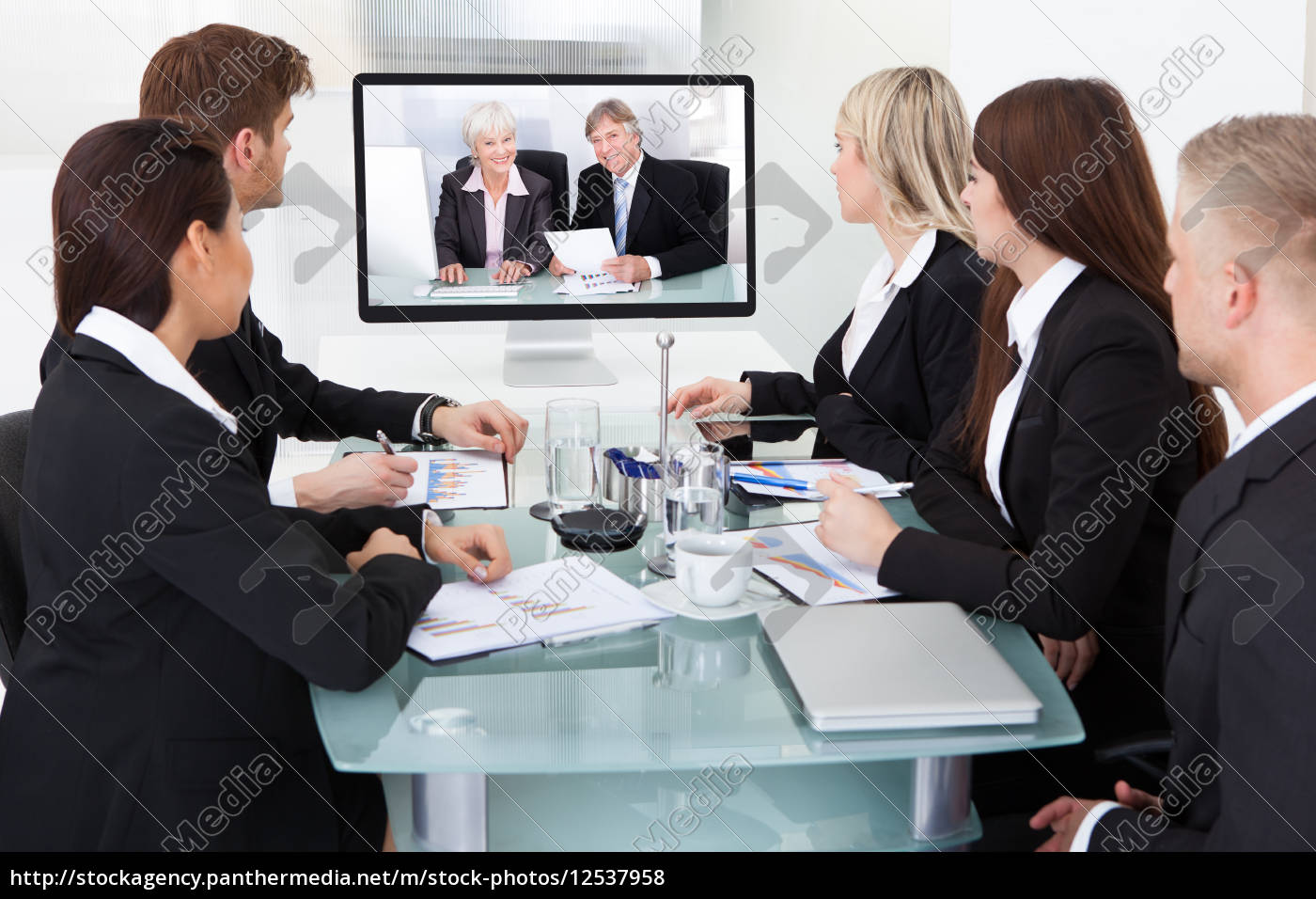 businesspeople, attending, video, conference - 12537958