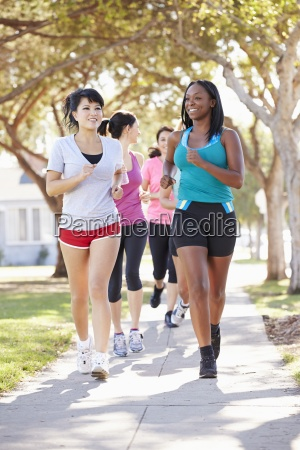 group, of, female, runners, exercising, on - 12537142