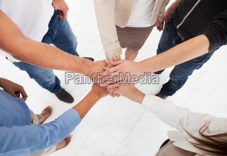 businesspeople, stacking, hands - 12538572