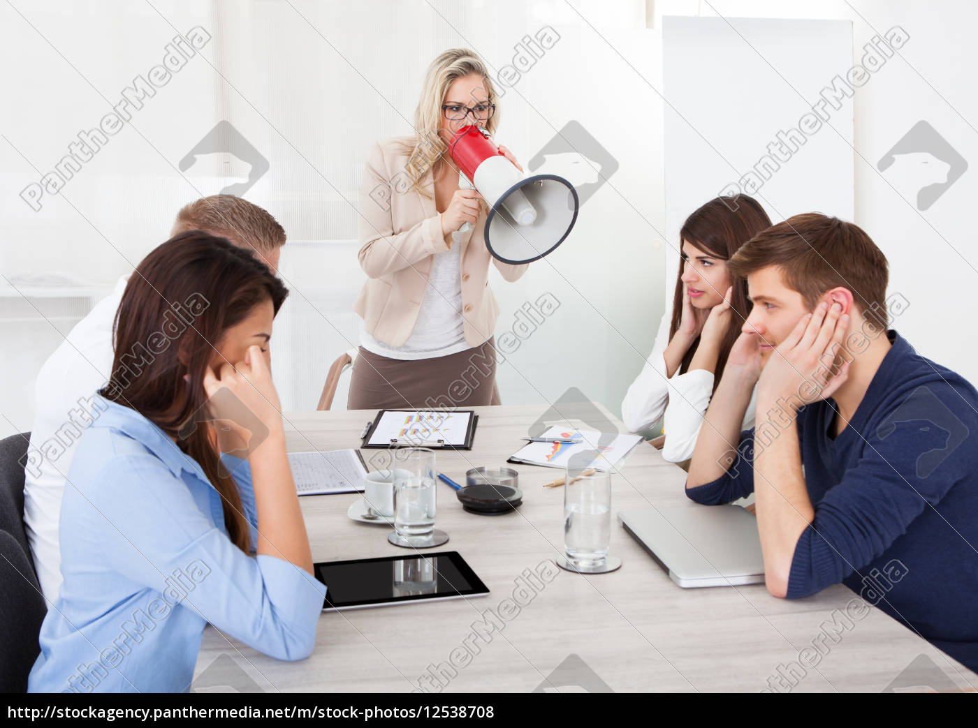 businesswoman, shouting, through, megaphone, on, colleagues - 12538708