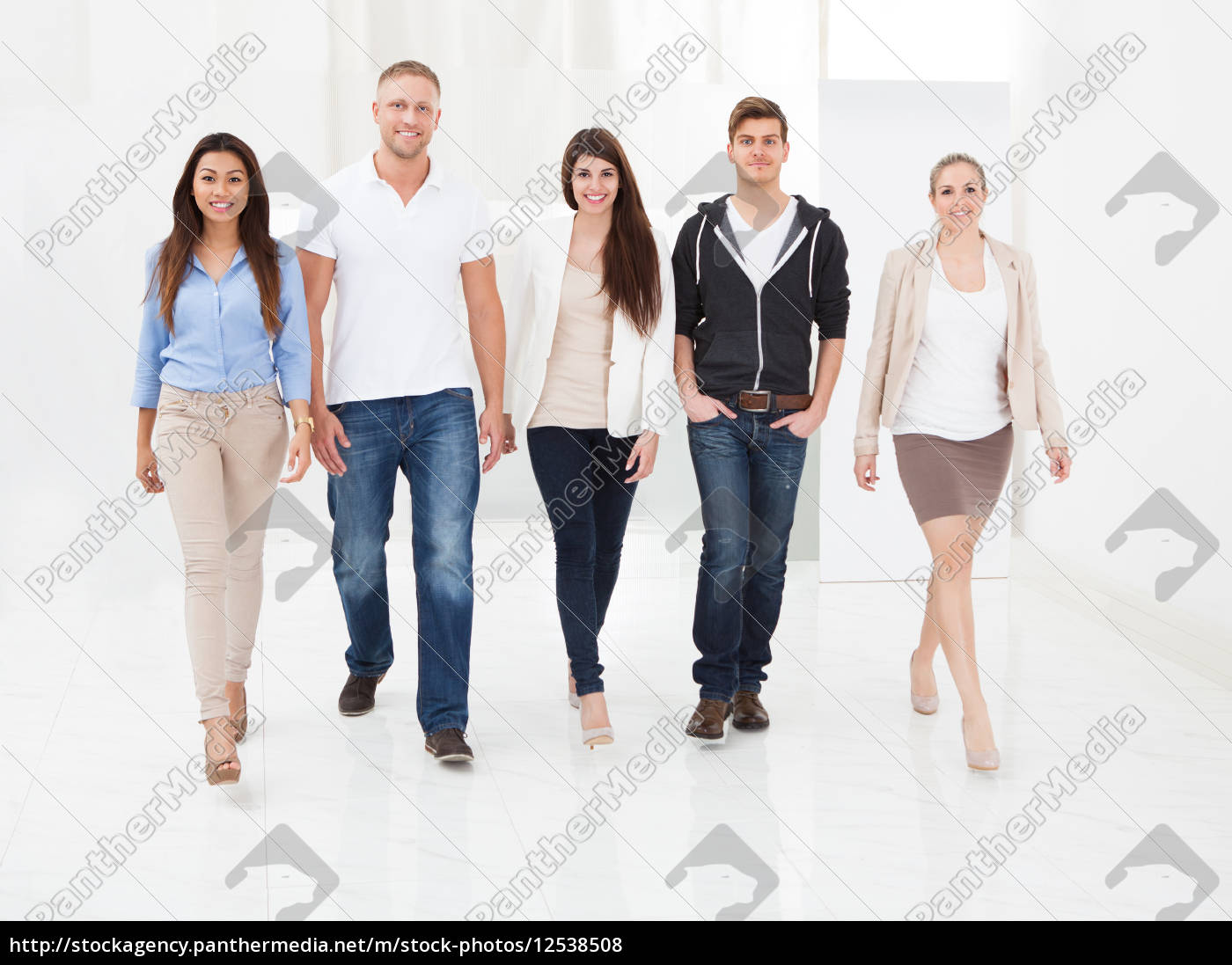 confident, businesspeople, walking, together - 12538508