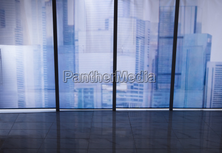 view of cityscape through office window