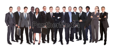 panoramic shot of confident businesspeople