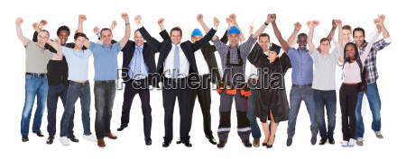 excited people with different occupations celebrating