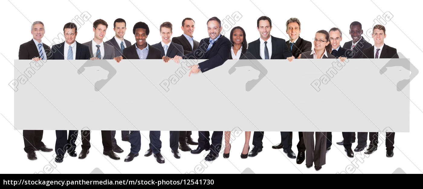 multiethnic, businesspeople, holding, blank, billboard - 12541730