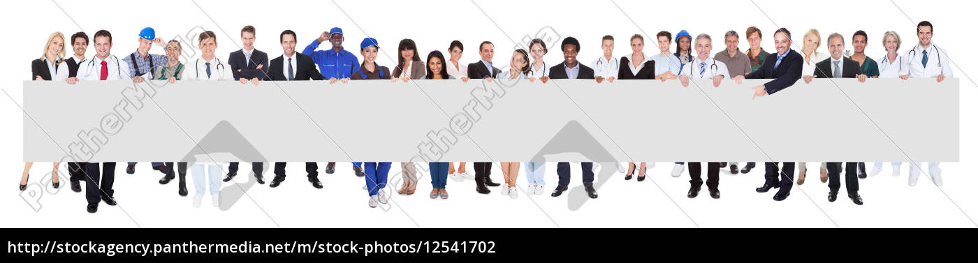people, with, various, occupations, holding, blank - 12541702
