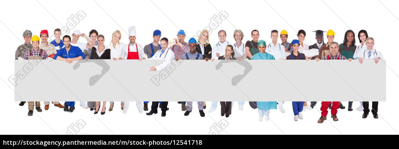 people, with, various, occupations, holding, blank - 12541718