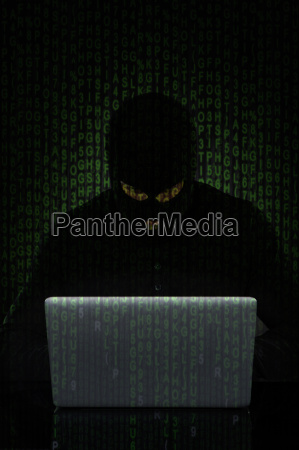 man or hacker working on a