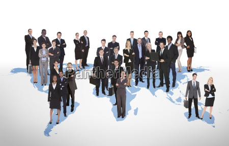 multiethnic business people standing on world