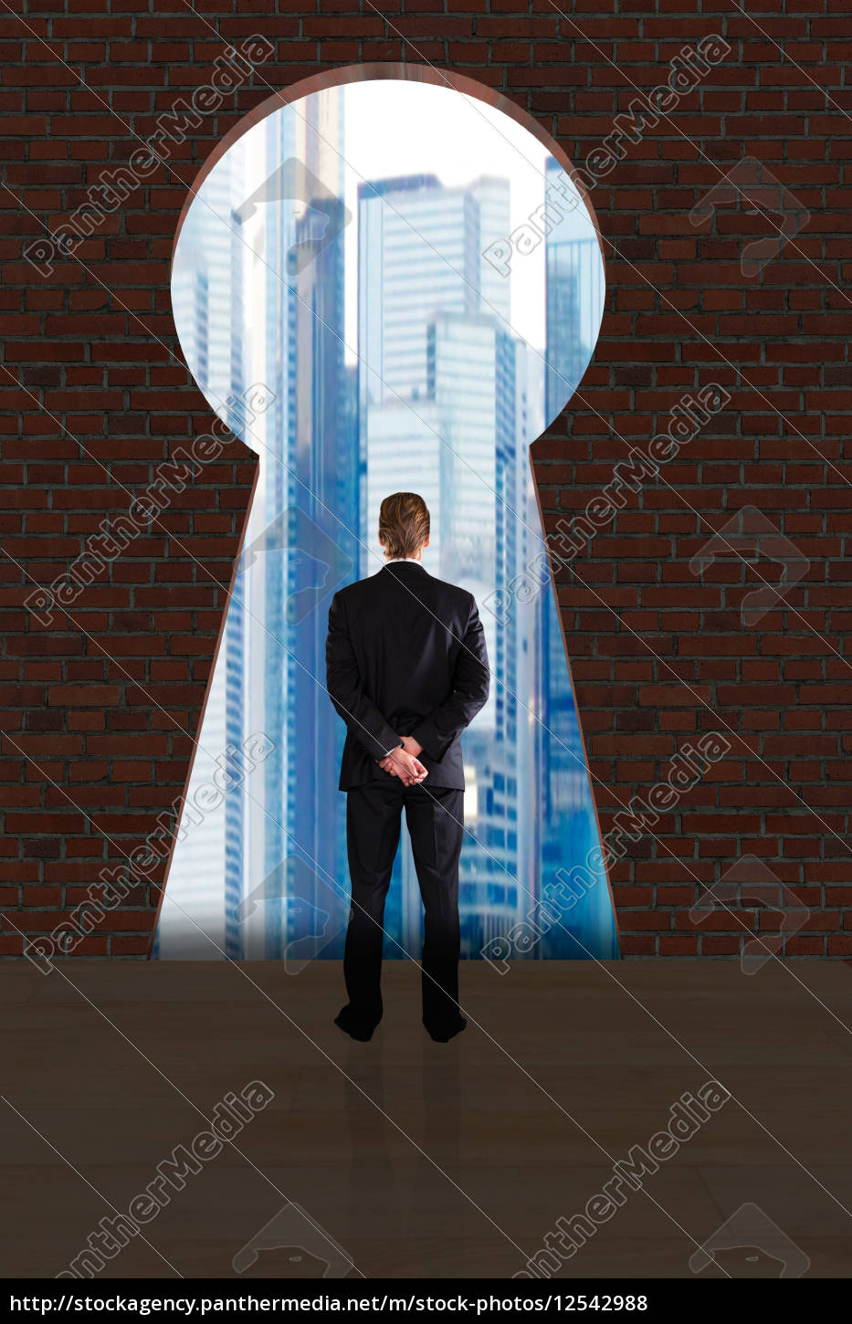 businessman, looking, at, city, buildings, through - 12542988