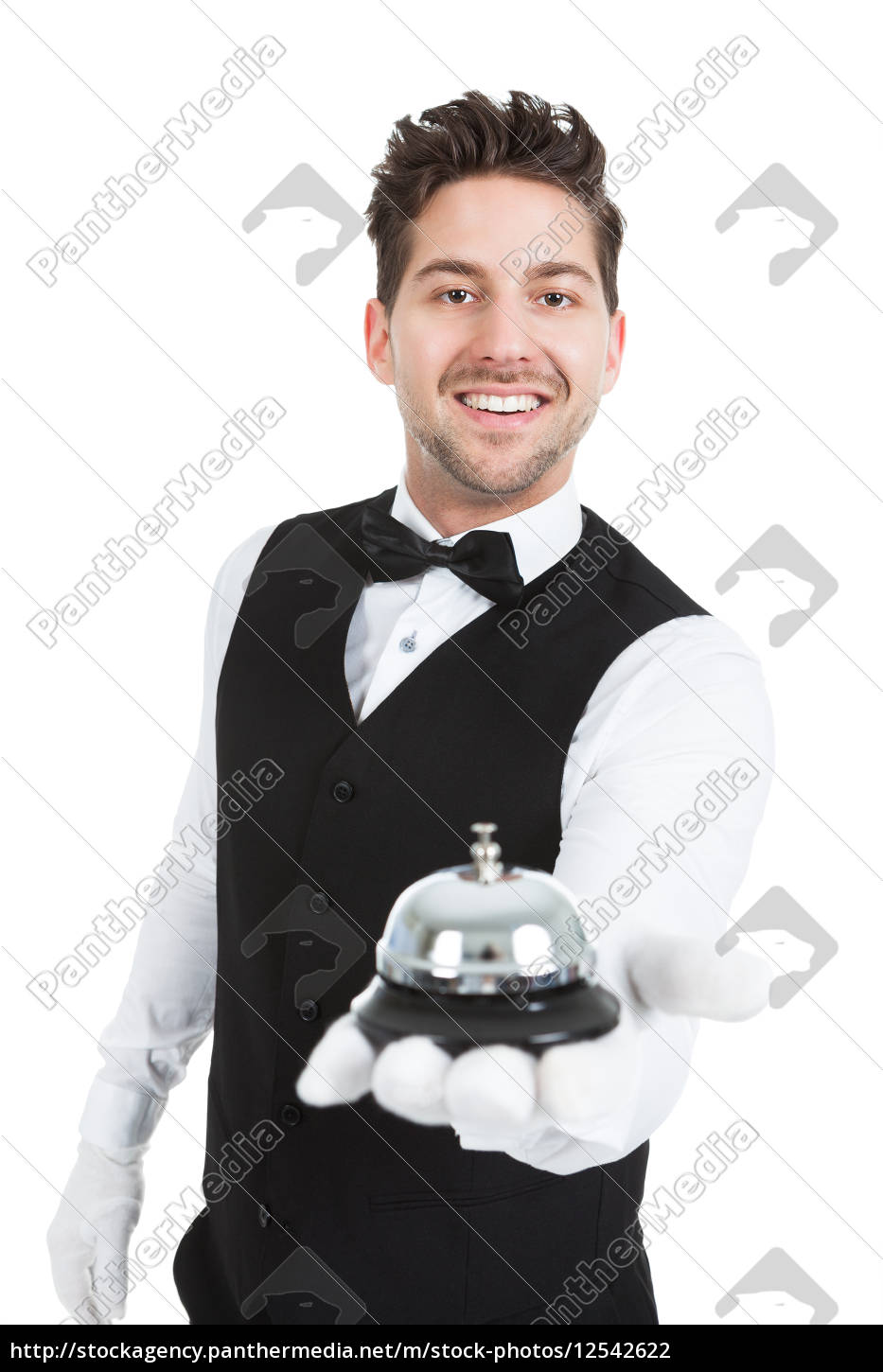 waitperson, holding, service, bell - 12542622